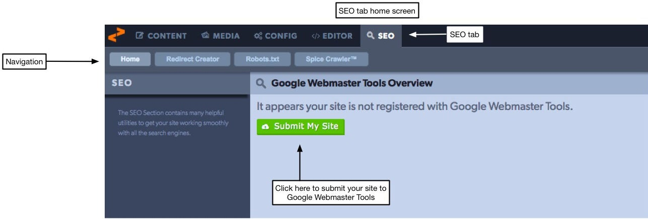 seo tab home screen shows Google Webmasters tools if the site is registered