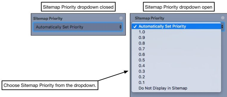 set sitemap priority by selecting a number from the dropdown