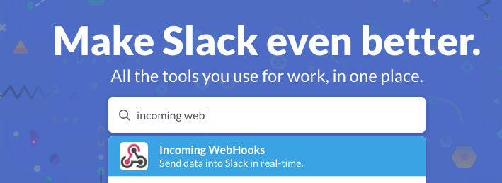 search incoming webhooks