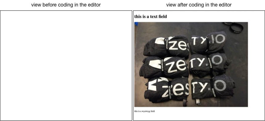 the view before and after adding code to the editor